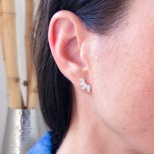 925 Silver fan shaped stud earrings with CZ